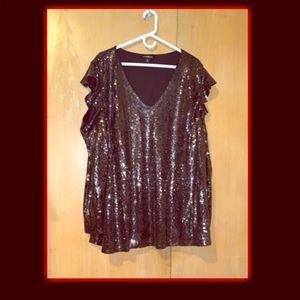 Sequins Pewter cold shoulder shirt